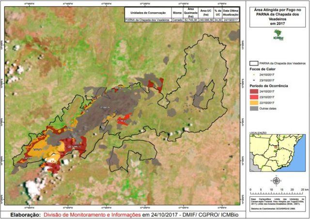 Mapa com a área atingida por fogo no PNCV. Imagem: ICMBio.