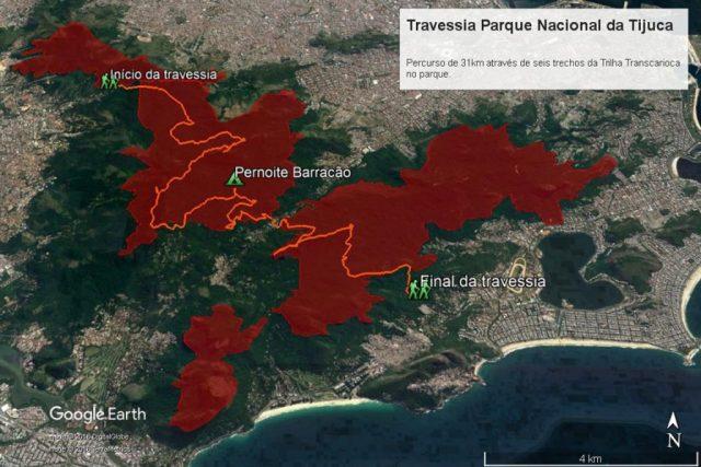 Traçado da travessia de 31 km. Em vermelho os contornos do Parque Nacional da Tijuca. Fonte: Google Earth.