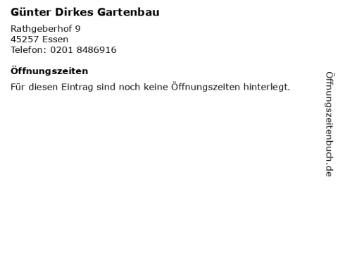 """gartenbau in essen ᐅ Öffnungszeiten """"günter dirkes gartenbau""""   rathgeberhof"""
