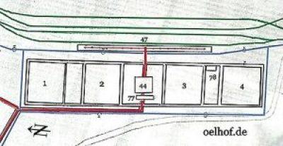 Weitere Gebäude in dieser Skizze sind: Nr. 44  Pumpenhaus, Nr. 47  Bahn-Verladeanlage I, Nr. 77  Separationsanlage