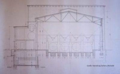Zeichnung, Querschnitt geplantes Kesselhaus Ölhof Bleckede 1941