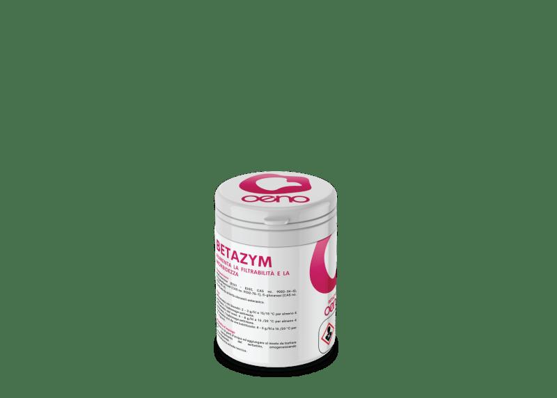 Betazym agisce sulle catene di glucani ed accelera l'affinamento dei vini, aumentando la morbidezza e la rotondità, migliora inoltre la filtrabilità.