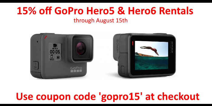 15% off GoPro Hero5 and Hero6 Rentals
