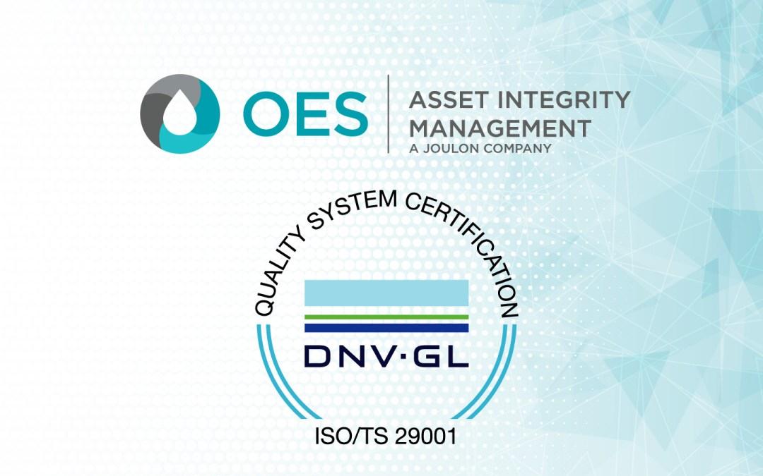 OES awarded 29001:2020 accreditation