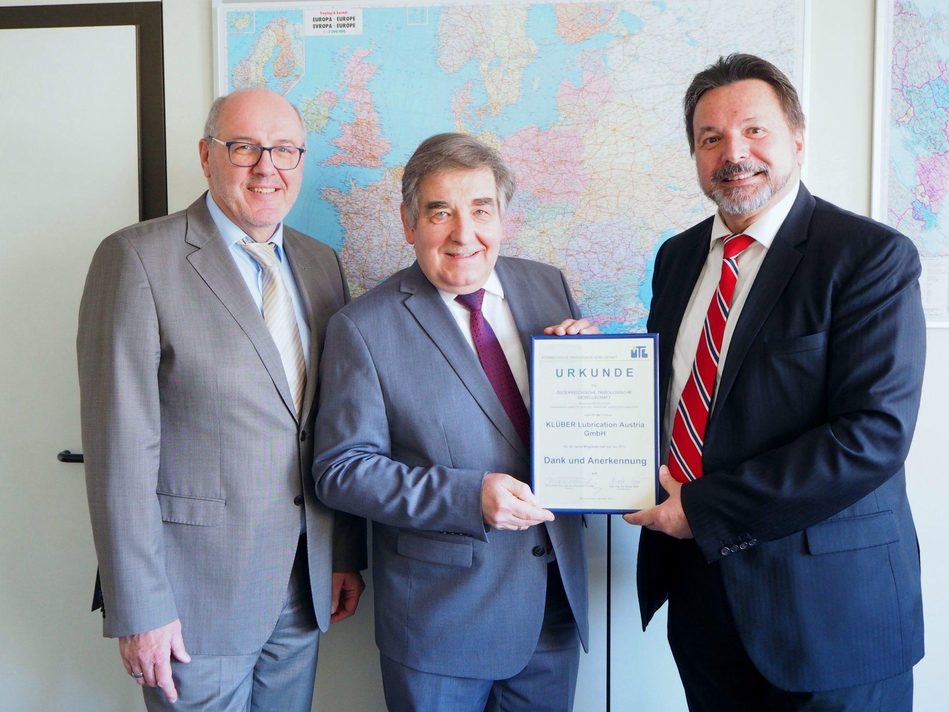 Ehrung für KLÜBER Lubrication Austria GmbH – 40 Jahre ÖTG-Mitglied
