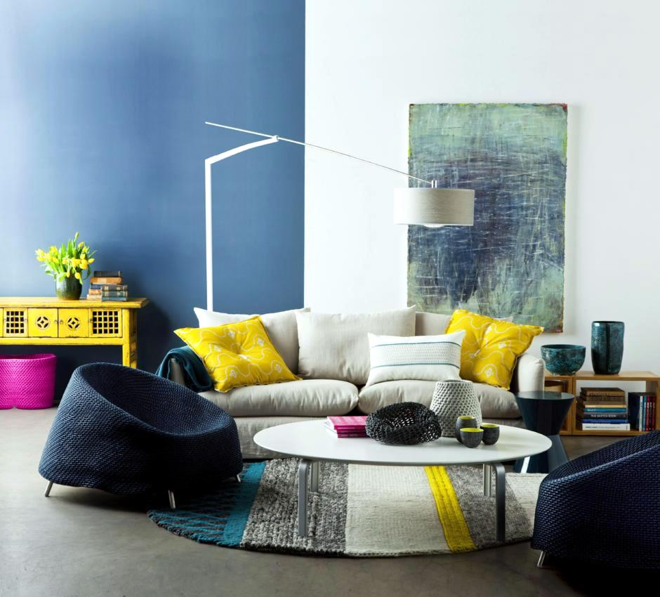 Yellow And Gray Room Design