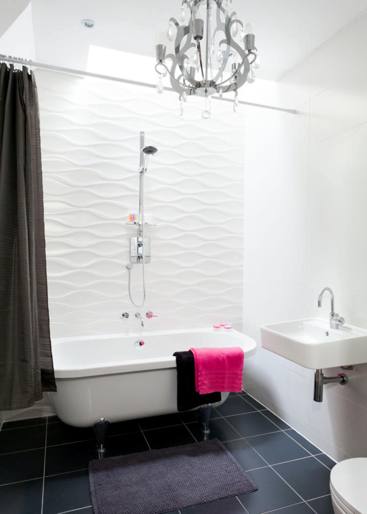the shower curtain as a room divider