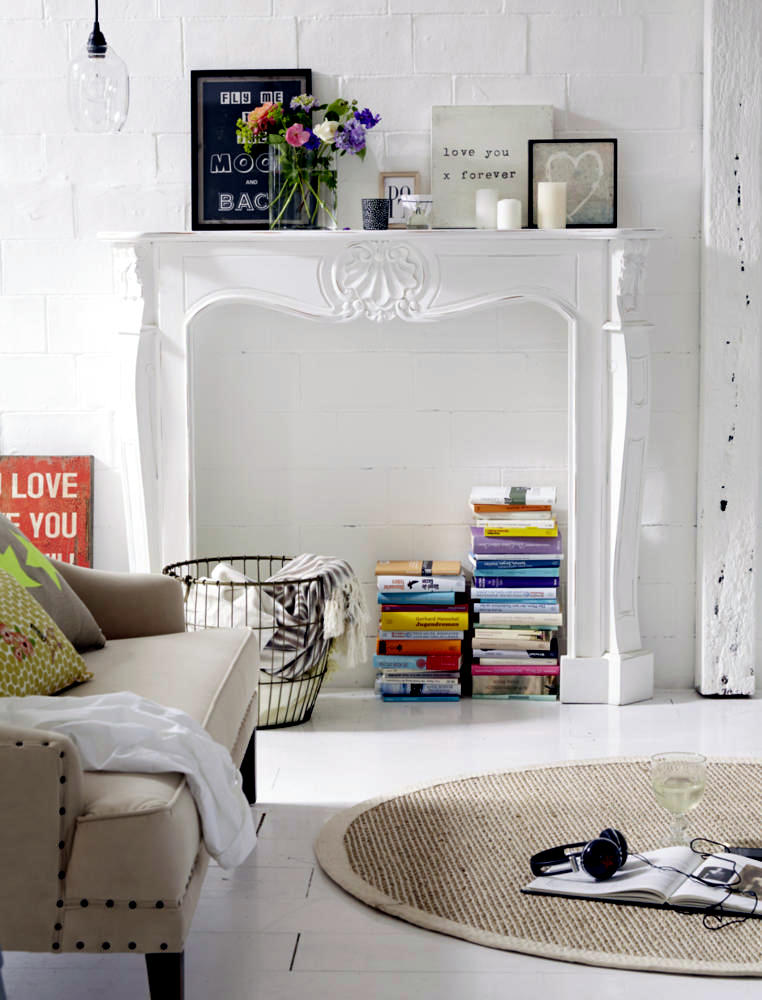 Fake Fireplace As A Library Interior Design Ideas Ofdesign
