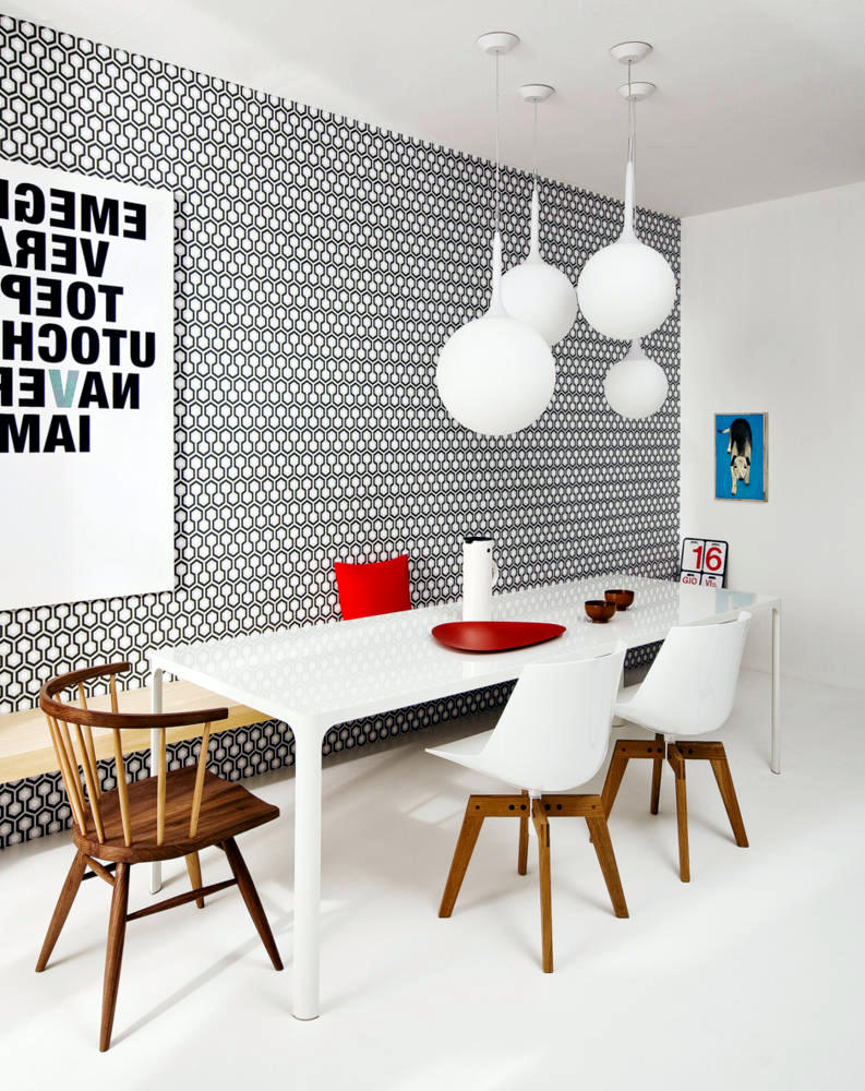 Modern Dining Room With Patterned Wallpaper And Wooden