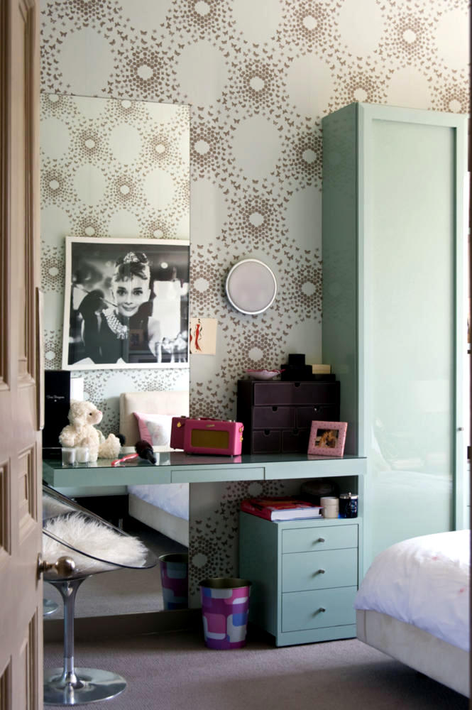 Patterned Paper And Painted Poster Of Audrey Hepburn