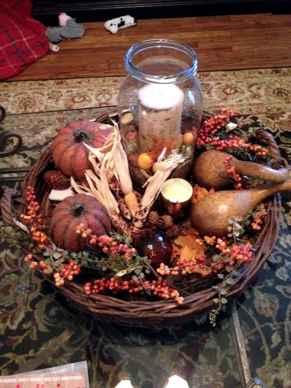 fall decorations on the coffee table