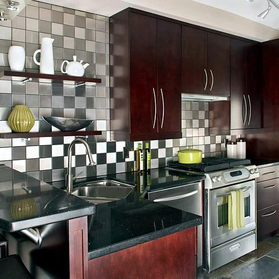 for the design of the rear wall of the kitchen you will need the right tiles stainless steel tiles are very durable can be both quick and clean to