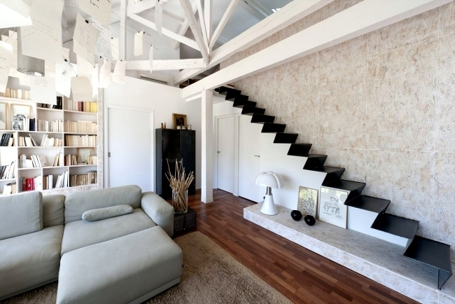 99 Modern Staircases Designs – Absolute Eye Catcher In The Living | Living Room Stairs Design | Home | Classic House | Catalogue | White | Semi Circle House