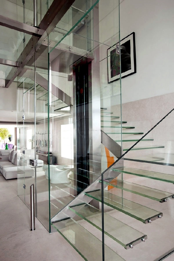 99 Modern Staircases Designs – Absolute Eye Catcher In The Living   Modern Glass Staircase Design   Half Wall Glass   Marble Floor Glass   Modern Style   Stainless Steel   Stair Case