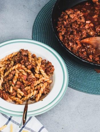 Salsiccia Bolognese italienische Bolo Nudeln Pasta Rezept Ofen offen Foodblog