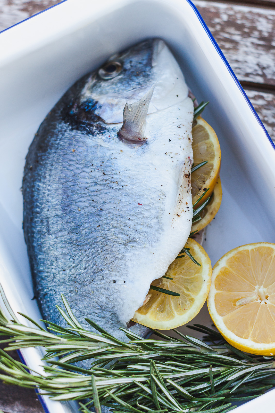 Gegrillte Dorade Fisch Grill BBQ gefüllt Zitrone Rosmarin