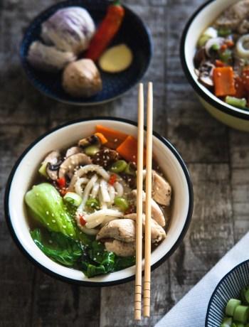 Asiatische Suppe Fleischbrühe Asia Suppe Hühnerfleisch Rezept Ofen offen Foodblog
