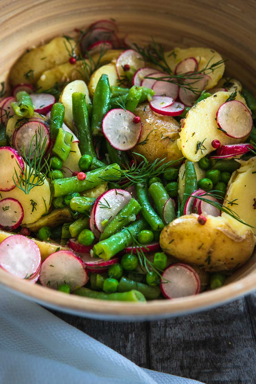 Sommer Kartoffelsalat vegan ohne Mayonnaise ohne Brühe