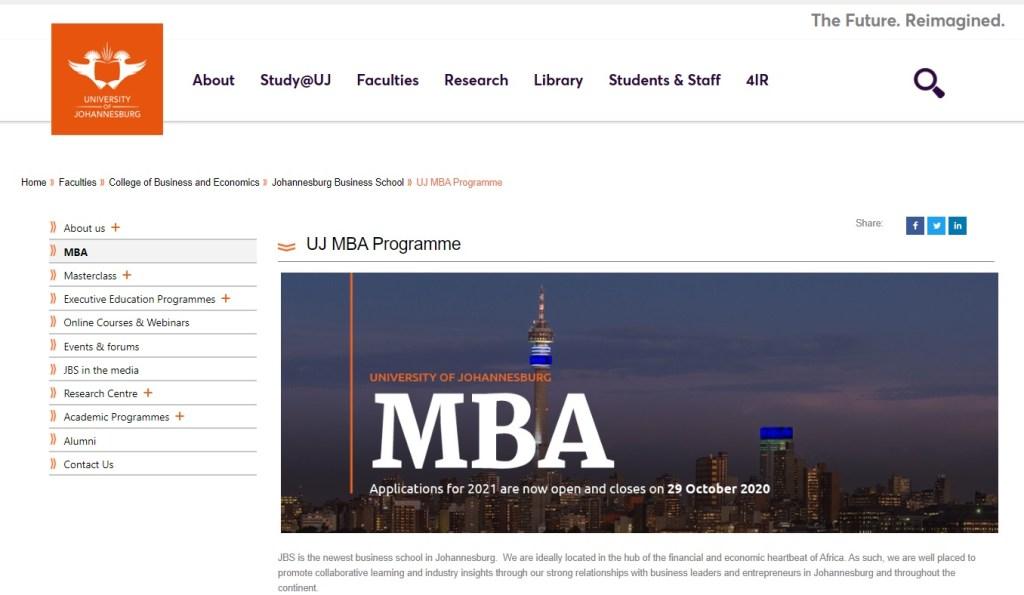 UJ JBS MBA