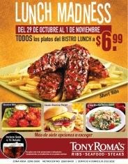 Bistro LUNCH promotion TONY ROMAS Lunch Madness - 29oct13