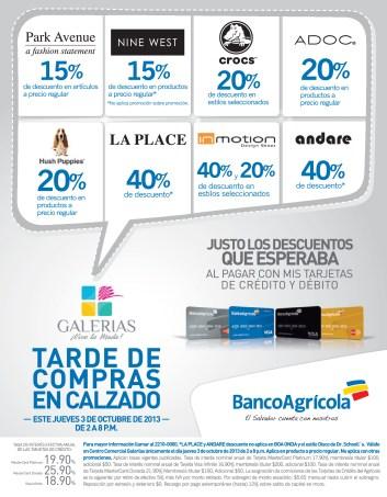 Descuentos en compras de calzado GALERIAS y BANCO AGRICOLA - 03oct13