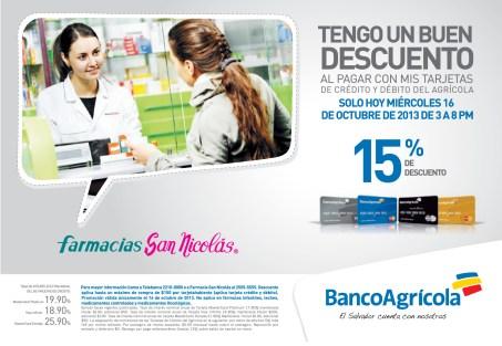 Farmacia san nicolas descuento con Banco Agricola - 16oct13