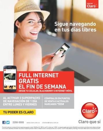 Full internet gratis el fin de semana CLARO promcoiones - 01oct13