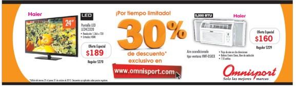 Omnisport.com descuento exclusivo pantallas HAIER - 24oct13