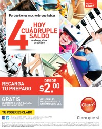 Recargas CLARO hoy cuadruple saldo - 02oct13