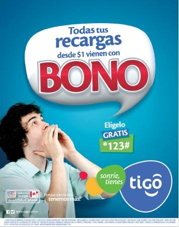 Recargas TIGO hoy todas vienen con BONO - 07oct13