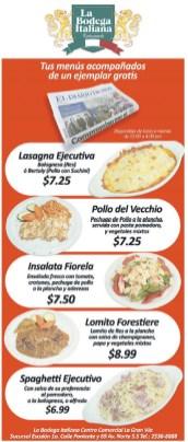 Restaurante La bodega italiana menus en promocion - 03oct13