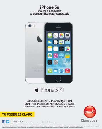 Consigue tu iPhone 5s con CLARO el salvador - 01nov13