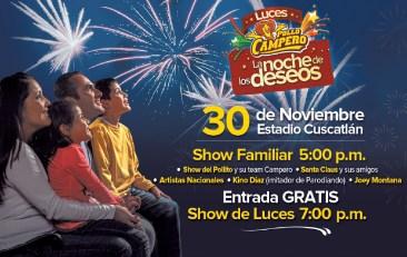 Luces campero 30 de noviembre estadio cuscatlan POLLO CAMPERO entrada GRATIS