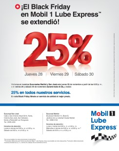 Mobil Lube Express OIL discount Black Friday - 28nov13