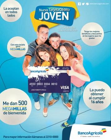 Nueva tarjeta de debeito JOVEN banco agricola - 18nov13