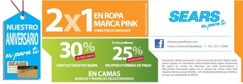 SEARS promociones de hoy 2x1 ropa marca PINK - 12nov13