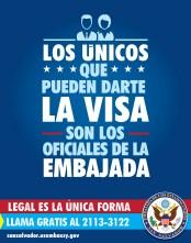 VISA para los Estados Unidos unicamente en la embajada