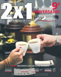 VIVA Expresso 2x1 en bebidas de cafe por aniversario noviembre 2013