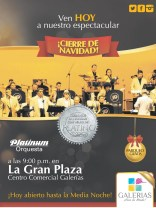 Cierre de Navidad concierto PLATINUM centro comercial GALERIAS