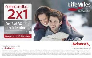 Compra millas 2x1 AVIANCA lifemiles.com - 26dic13
