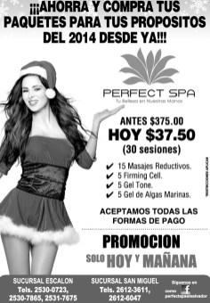 Paquetes reductivo de navidad PERFECT SPA promotions - 17dic13
