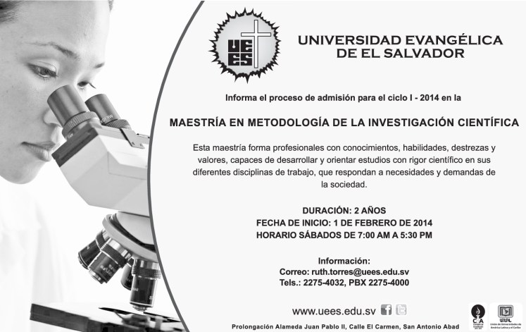 Maestria Investigacion cientifica Universidad Evangelica de El Salvador