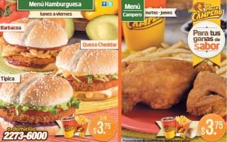 Promociones MENUS pollo campero el salvador - 15ene14