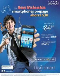 ALCATEL onetouch smartphone TIGO el salvador SAN VALENTIN - 05feb14