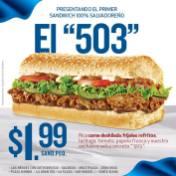 Quiznos El salvador presenta EL 503 sandwich salvadoreño