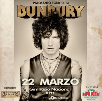 BUNBURY Palosanto TOUR 2014 el salvador Gimnasio Nacional invita PAPA JOHNS