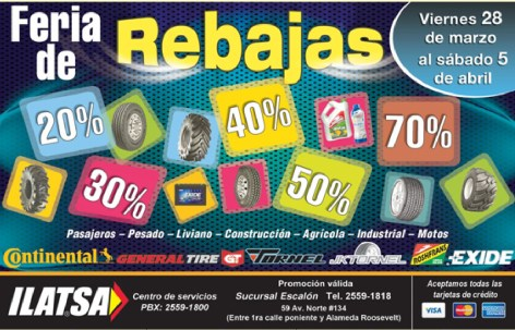 FEria de Rebajas Llantas CONTINENTAL GT TORNELL EXIDE - 31mar14