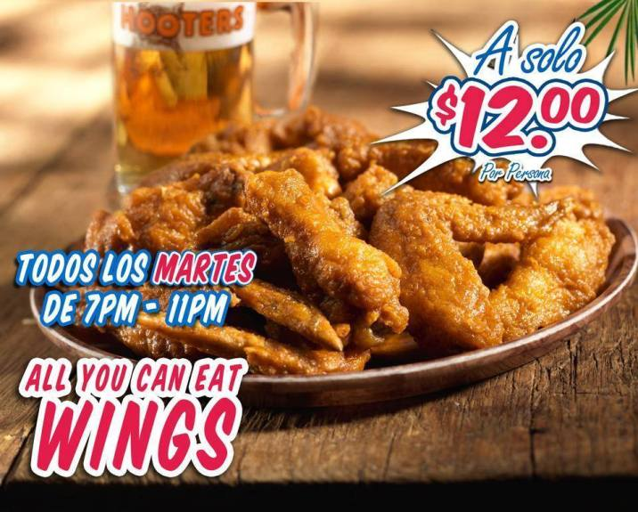 HOOTERS el salvador MARTES all you can eat WINGS