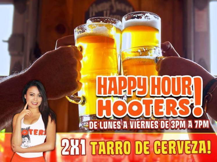 Happy hour HOOTERS sv 2x1 tarro de cerveza