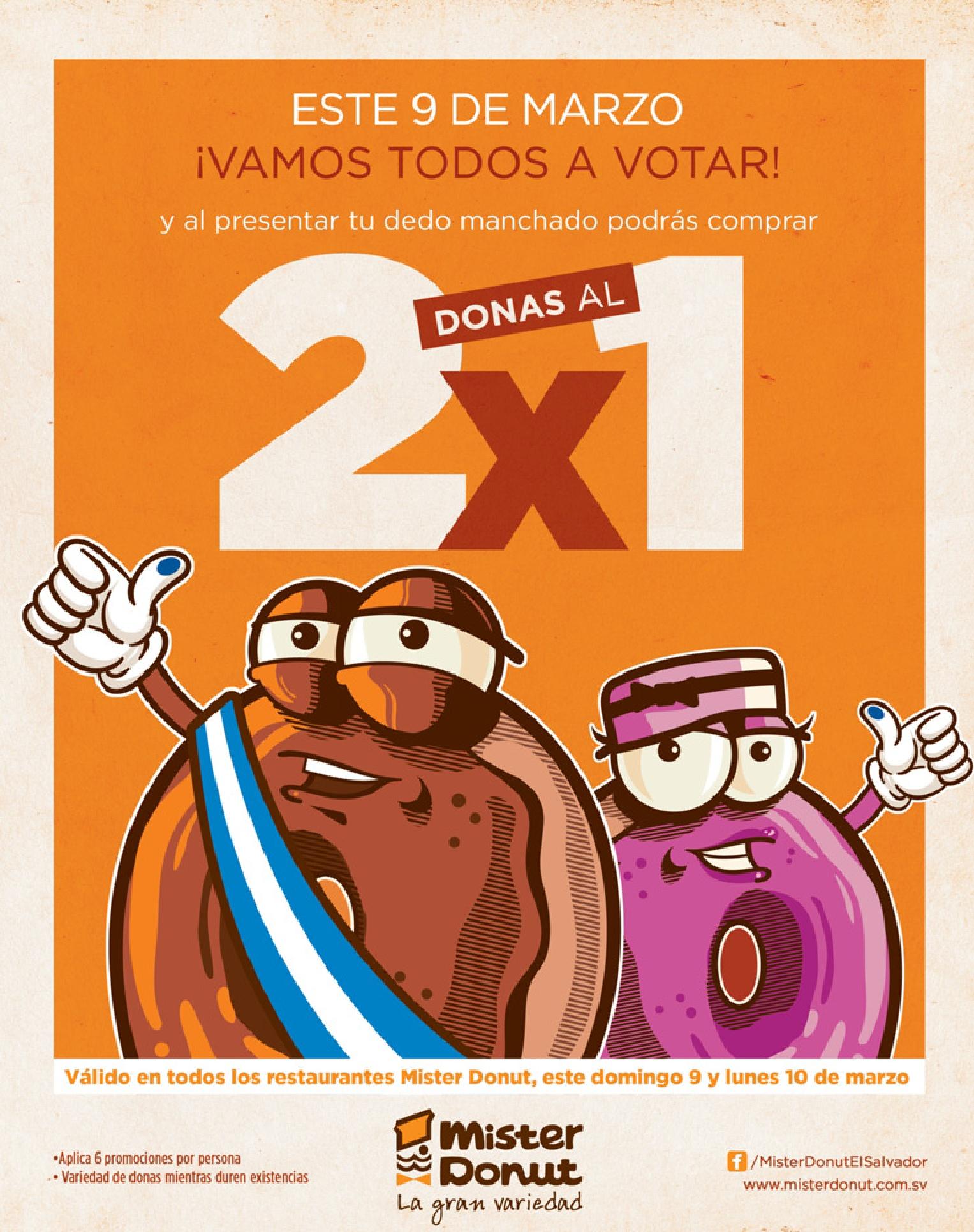 MISTER DONUT este 9 de marzo vamos a votar Donas 2x1